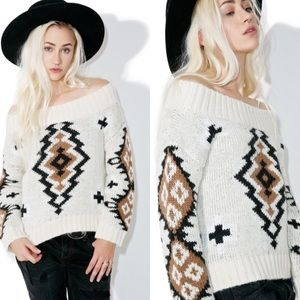 NWT-Moon River X Free People Aztec Sweater
